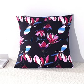 Multi-Color Magnolia Buds Printed Decorative Square Cotton Throw Pillowcases