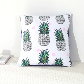 Green Pineapples Printed White Decorative Square Polyester Throw Pillowcases