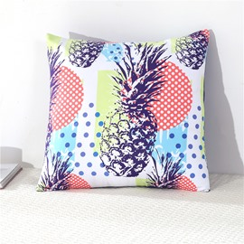 Pineapple and Colorful Polka Dots Printed Decorative Square Cotton Throw Pillowcases