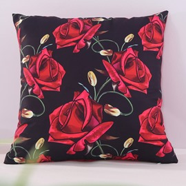Red Roses Blooming Black Decorative Square Polyester Throw Pillowcases