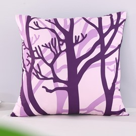 Purple Withered Tree Branches Decorative Square Polyester Throw Pillowcases