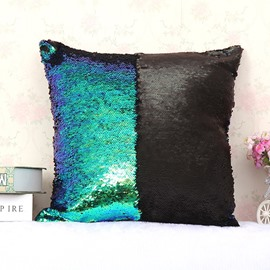 Fantasy Green and Black Color Changing Reversible Sequins 2-Piece Mermaid Pillowcases