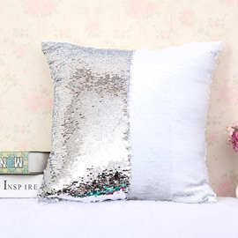 White and Sliver Color Changing Reversible Sequins 2-Piece Mermaid Pillowcases