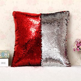 Red and Sliver Color Changing Reversible Sequins 2-Piece Mermaid Pillowcases