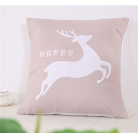 White Jumping Deer Pattern Square Polyester One Piece Throw Pillowcase