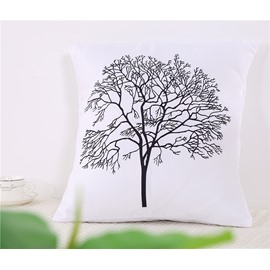 Grey Tree Silhouette Decorative Square Polyester One Piece Throw Pillowcases