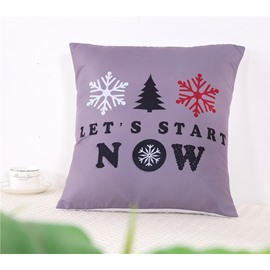 Snowflake and Letters Pattern Decorative Square Polyester One Piece Throw Pillowcases