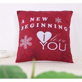A New Beginning Letters Red Sweet Polyester One Piece Throw Pillowcase