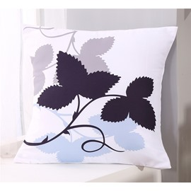Branch of Leaves Pattern Square Polyester One Piece Throw Pillowcase