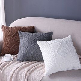 Knitting Braid Nordic Style Square Decorative Throw Pillowcase