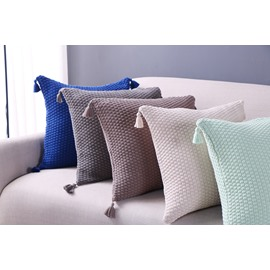 Tassels in Four Corners Square Cotton Decorative One Piece Throw Pillowcase