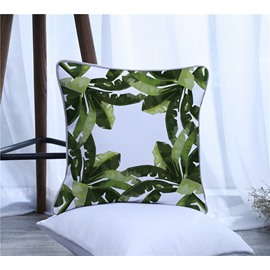 Tropical Green Banana Leaves Decorative One Piece Throw Pillowcase