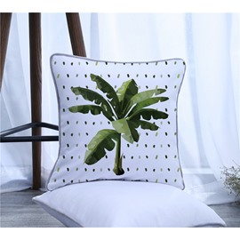 Single Coconut Tree Pattern Polyester One Piece Decorative Square Throw Pillowcase