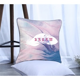 Dream Letters and Feather Pattern Polyester One Piece Decorative Square Throw Pillowcase
