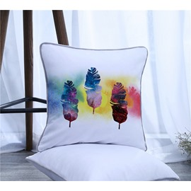 Colorful Feathers Pattern Polyester One Piece Decorative Square Throw Pillowcase