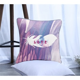 Love Letters and Feather Pattern Polyester One Piece Decorative Square Throw Pillowcase