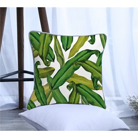 Green Tropical Leaves Pattern Polyester One Piece Decorative Square Throw Pillowcase