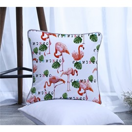 Flamingos and Palm Leaves Printed Polyester One Piece Decorative Square Throw Pillowcase