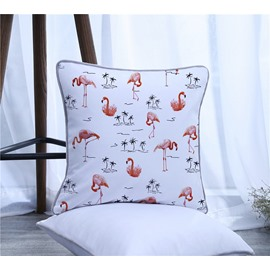 Flamingos and Coconut Trees Pattern Polyester One Piece Decorative Square Throw Pillowcase