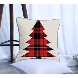 Red Grid Christmas Tree Pattern Polyester One Piece Decorative Square Throw Pillowcase