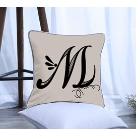 Artist Letter M Pattern Polyester One Piece Decorative Square Throw Pillowcase