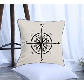 Simple Compass Pattern Polyester One Piece Decorative Square Throw Pillowcase