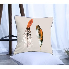 Painting Feather Pattern Polyester One Piece Decorative Square Throw Pillowcase
