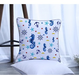 Sea Horse with Starfish Pattern Polyester One Piece Decorative Square Throw Pillowcase