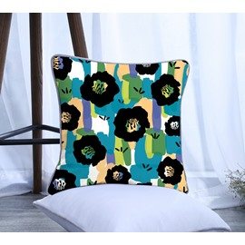 Painting Flowers with Stripes Pattern Polyester One Piece Decorative Square Throw Pillowcase