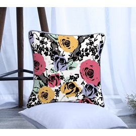 Painting Yellow and Pink Flowers Pattern Polyester One Piece Decorative Square Throw Pillowcasea