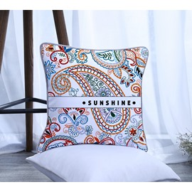 Sunshine Printed Paisley Design Pattern Polyester One Piece Decorative Square Throw Pillowcase