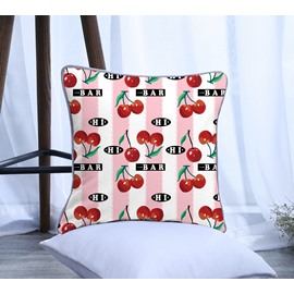 Painting Cherry with Pink Stripes Pattern Polyester One Piece Decorative Square Throw Pillowcase
