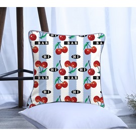 Painting Cherry with Blue Stripes Pattern Polyester One Piece Decorative Square Throw Pillowcase