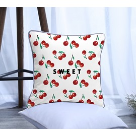 Sweet Painting Cherry Pattern Polyester One Piece Decorative Square Throw Pillowcase