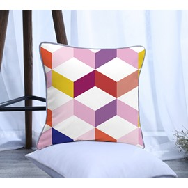 Colorful Geometric Pattern Polyester One Piece Decorative Square Throw Pillowcase