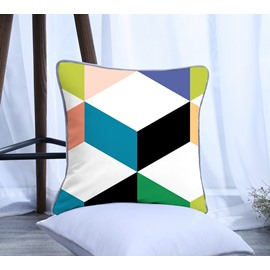 Colorful Geometric Pattern Polyester One Piece Decorative Square White Throw Pillowcase