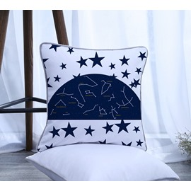 Constellation Five-pointed Star Pattern Polyester One Piece Decorative Square Throw Pillowcase