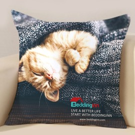 Beddinginn Anniversary Celebration Kitty Printed Throw Pillowcase