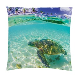 Onlwe Turtle in the Blue Limpid Ocean Printed 3D Throw Pillowcase