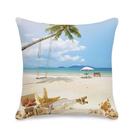 Starfish and Drift Bottle Printed 3D Throw Pillowcase