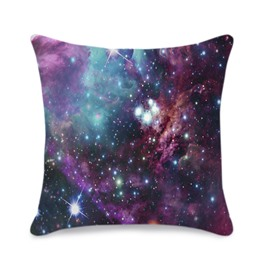 Stars and Multicolored Galaxy Printed 3D Throw Pillowcase