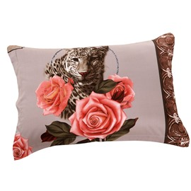 Ferocious Leopard and Delicate Roses Print Two Pieces Pillow Case