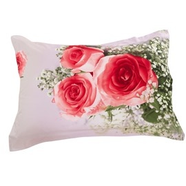 New Arrival Pink Roses and White Delicate Flowers Two Pieces Pillow Case