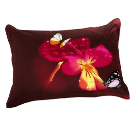 Butterfly and Delicate Flowers Two Pieces Pillow Case