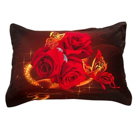 New Arrival Fancy Romantic Red Roses Two Pieces Pillow Case