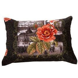 New Arrival Delicate Flowers and Ancient Architecture Two Pieces Pillow Case