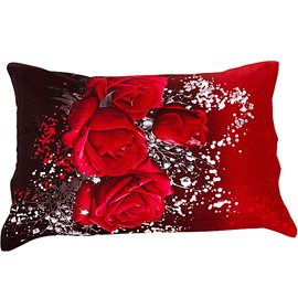 Bright Red Rose Pattern 2-Pieces Pillow Case