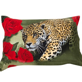 Leopard and Red Rose Pattern Pillowcase