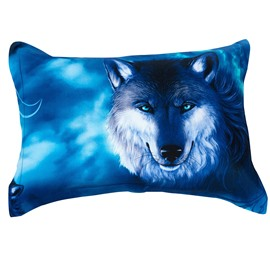 Wolf with Shiny Eyes Blue Pattern Pillowcase
