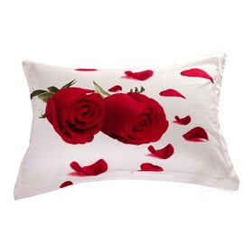 Quality Vivid Roses and Petal Print 3D Two-piece Pillowcases